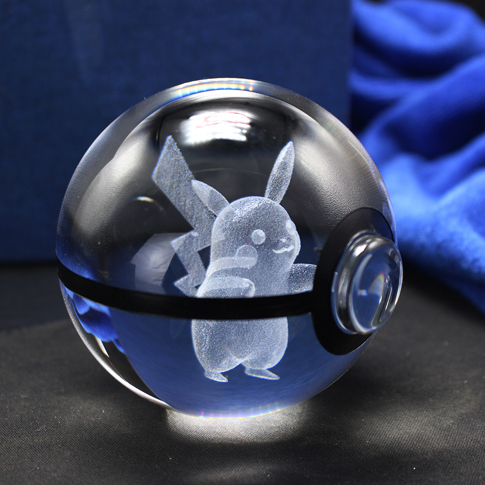 3D Laser Pokemon Gå Crystal Ball Figurines med Pikachu Children's - Heminredning - Foto 3