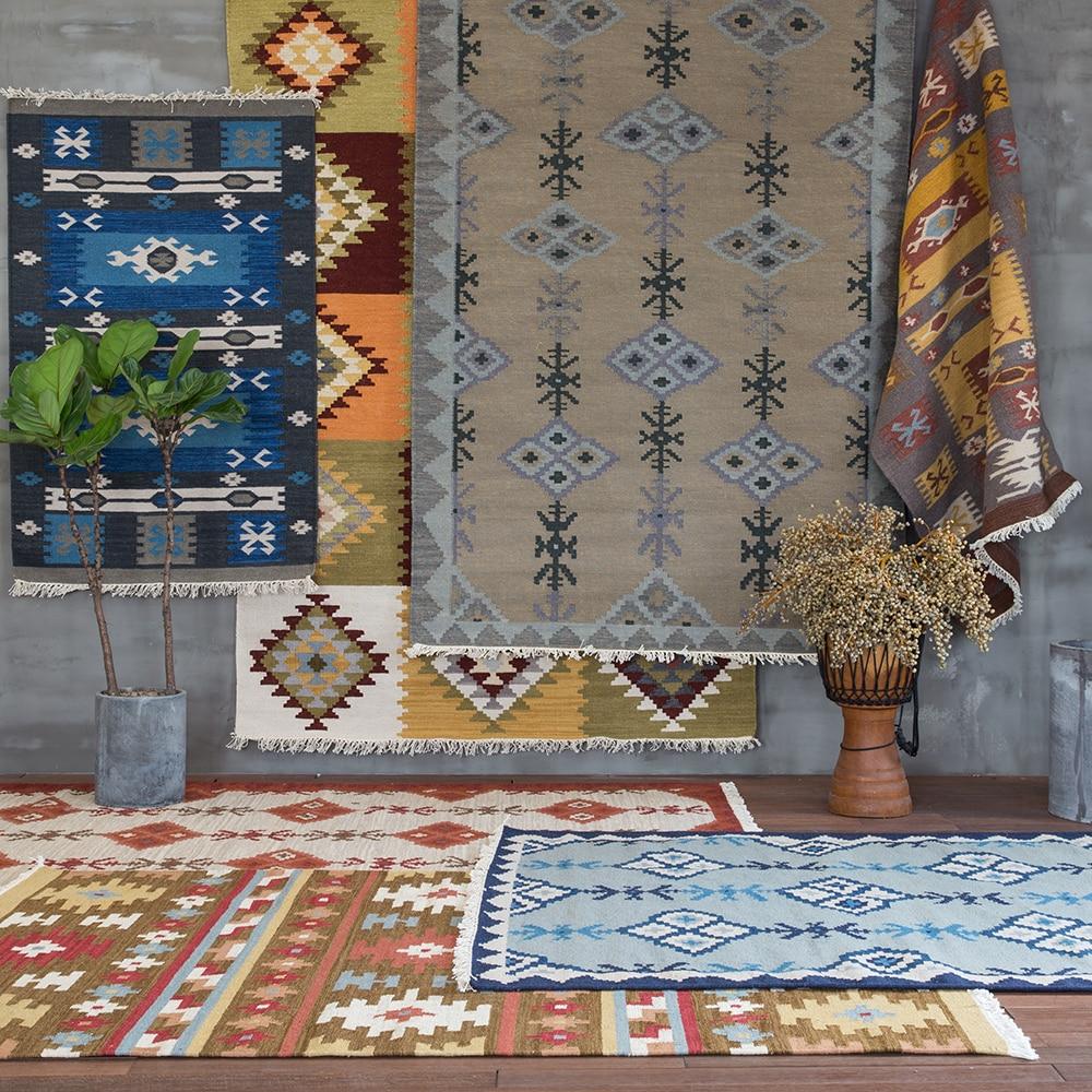 Inde un salon Europe du nord tapis moderne manuel laine tissage Kilim un salon Table à thé avantage spécial gc193kilimyg40