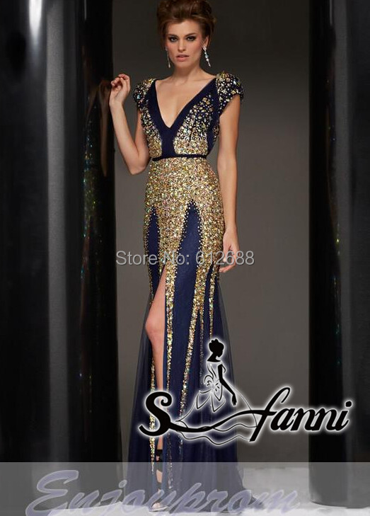 Gold and Navy Blue Prom Dress – Fashion dresses