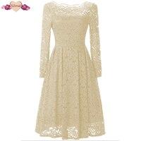 XZreal Retro Rockabilly Vintage Dress Lace Women Autumn Long Sleeve Party Dresses Female Clothing Off Shoulder