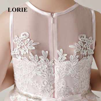 LORIE Flower Girl Dresses O-Neck A Line Pink Appliques Tulle Lace Zipper Back Long Girl Party Dresses for Girl Pageant 2019