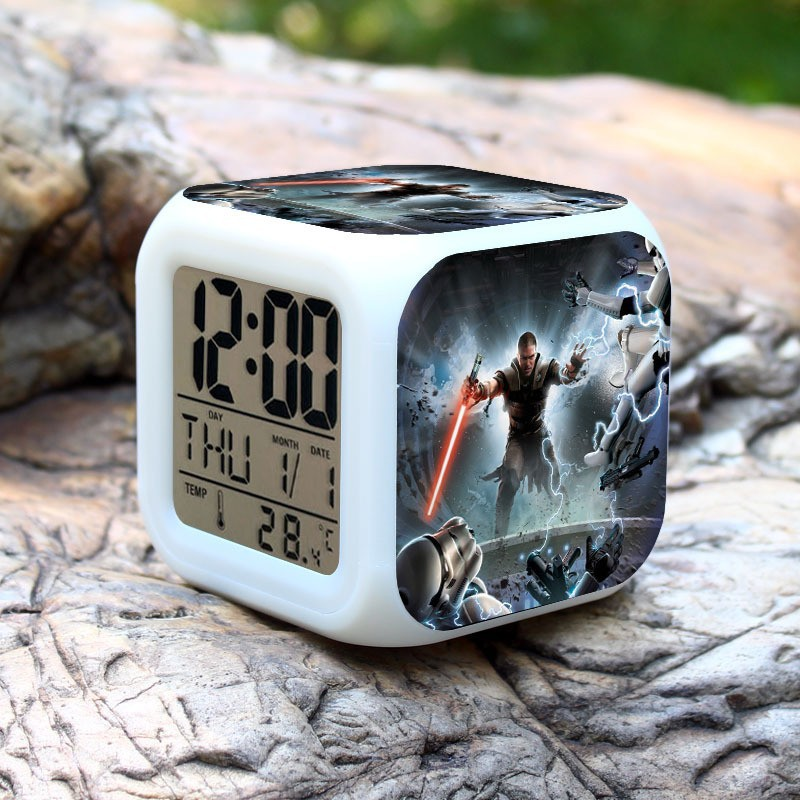 Alarm Clock with <font><b>LED</b></font> Cartoon Game Action Toy Figures Night Light <font><b>Wekker</b></font> Electronic Toys Relogio Despertador Digital Alarm Clock