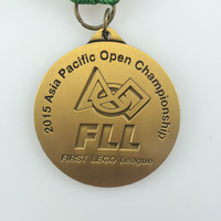 sports medal with custom embossed logo in gold/silver/bronze plating with medal ribbon--200pcs