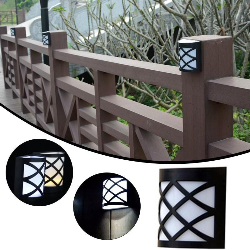 6LED Solar Power Wall Light Lamp Outdoor Fence Door White/Warm White Bright  Garden Light