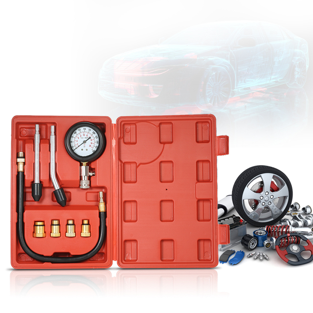 Gasoline Engine Compression Tester Auto Petrol Gas Engine Cylinder Automobile Pressure Gauge Tester Automotive Test Kit 0-300psi