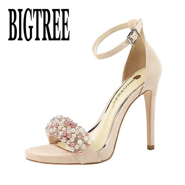 Süper yüksek topuklu pompalar kadın ayakkabı platformu Seksi ziyafet süet İnci rhinestones Ayak Bileği Kayışı Sivri Burun Parti Ince Topuklu mary
