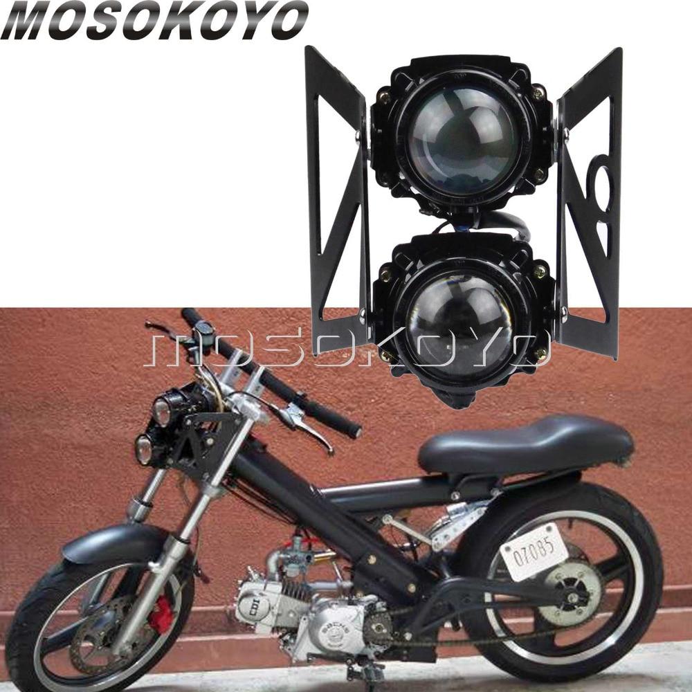 Street Motorcycles Headlight Twin Projector Light Scooter Front Running Lamp W/ Mounting Bracket For YAMAHA Honda Suzuki KTM