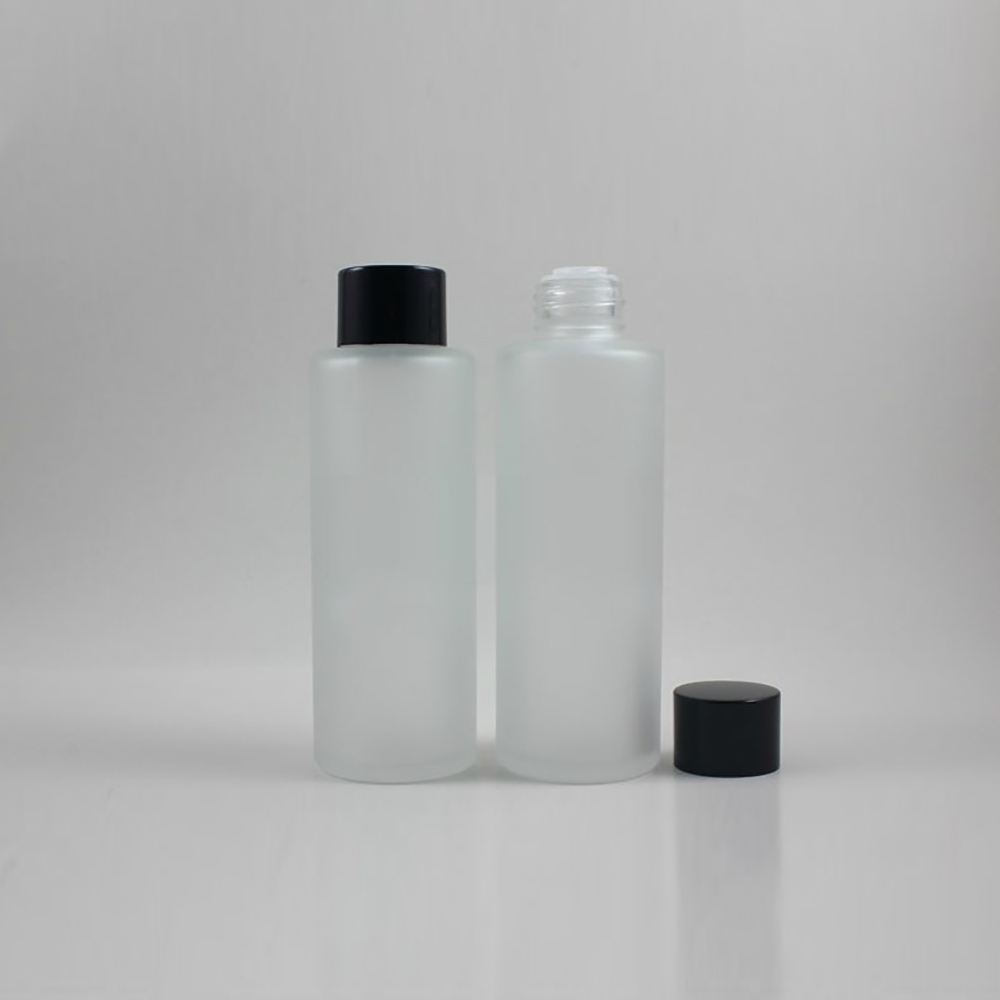 50 pcs geada de vidro vazio 100 ml rodada claro garrafa locao creme com tampa de
