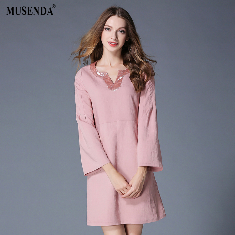 MUSENDA Plus Size Women Pink Velour V-Neck Patchwork Short Dress 2017 Autumn Female Sweet Clothing Suits Dresses Vestido Robe