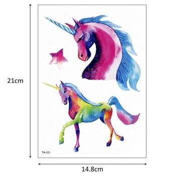 New Cartoon Blue Unicorn Fairy Tales Temporary Tattoo For Children Kids Waterproof Flash Tattoo Sticker Girl Baby Body Art Horse 5