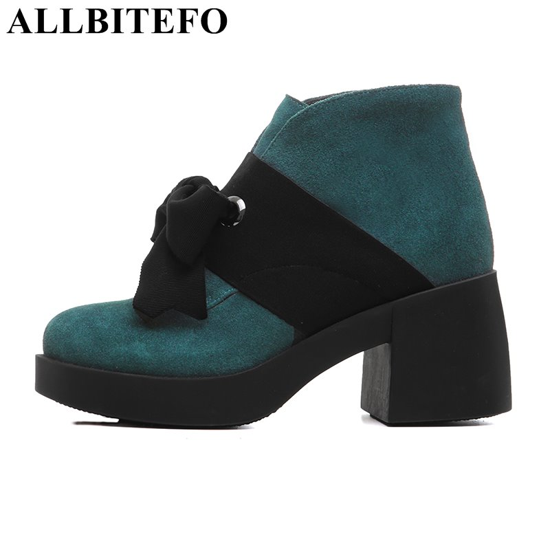 ALLBITEFO fashion casual Nubuck leather thick heel platform women boots bowtie high heels ankle boots grils boots ladies shoes winter 2014 british round solid leather thick follow with frosted leather ladies nubuck leather ankle boots