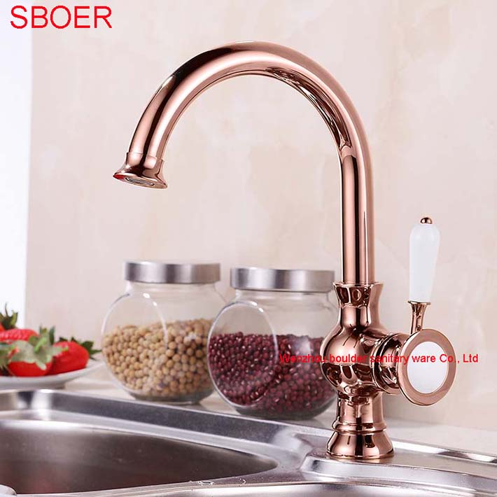 Degree Rotating Deck Mounted Luxury Rose Gold Kitchen Faucet - Rose gold kitchen faucet