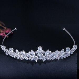 Image 5 - CWWZircons Yüksek Kalite Kübik Zirkonya Romantik Gelin Çiçek tiara taç Düğün Nedime saç aksesuarları Takı A008