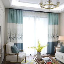 Modern minimalist linen embroidery cloth deer curtains living room bedroom curtains home decoration custom