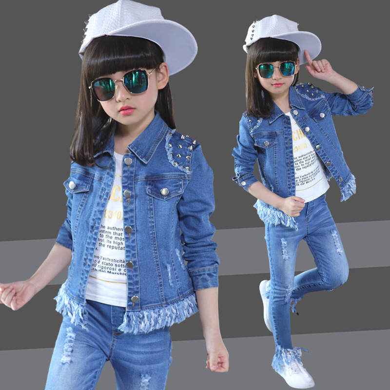 Children's clothes girls suits spring 2017 kids denim sets coat+jeans pants child casual outerwear coat autumn solid clothing