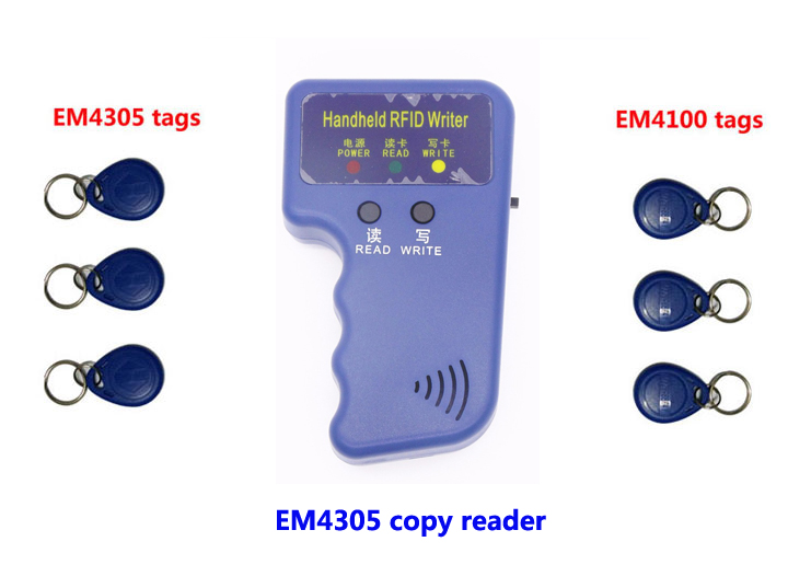 все цены на RFID Handheld Copier reader,125Khz duplicate device ID Card Copy write, 3pcs copied EM4305+ 3pcs EM4100, min:1pcs онлайн