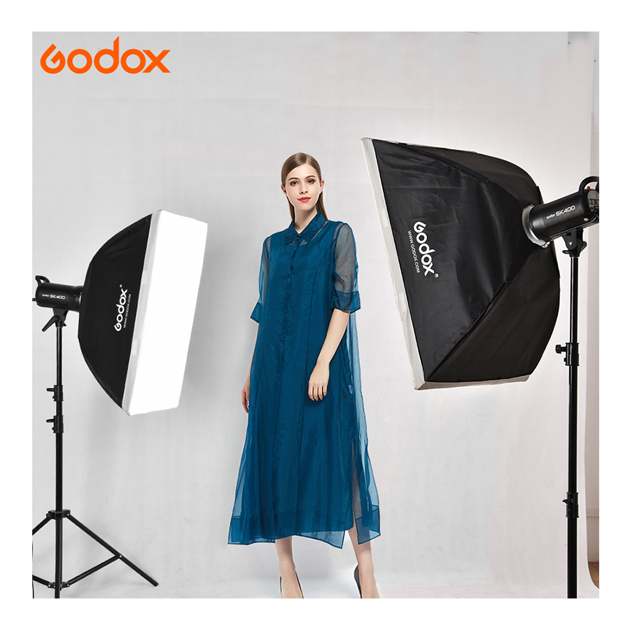 Godox 800W 2xSK400II photo studio kit photography Lighting SK Series with 60x90cm softbox + light stand + AT-16 for Canon/Nikon image