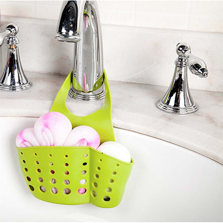 Kitchen Sink Hanging Storage Basket Sink Shelf Drain Rack Bathroom Holder Kitchen Storage Suction Cup Kitchen Organizer