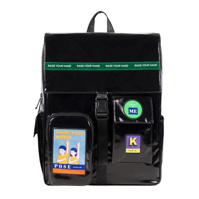 2019 Originele black waterdichte grote rugzakken schooltassen voor tieners 15.6inch laptop tassen in POSE serie 2 (FUN KIK)