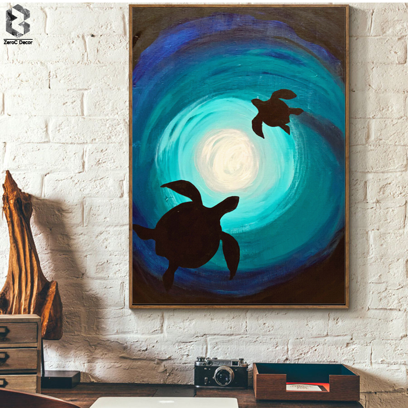 Silhouette Ocean World Sea Turtle Wall Art Prints And