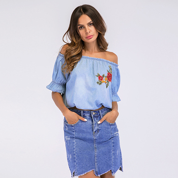Fioday New Fashion Ladies Off Shoulder Denim Blouses Shirts Women Summer Casual Solid Loose Short Sleeve Tops Camisa de mujer