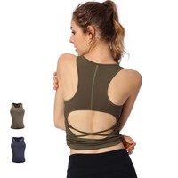 New Women Quick Drying Wicking Sports Vest Girls Yoga Fitness Casual Running Vests Female Open Back Chest Pad Sports Vest