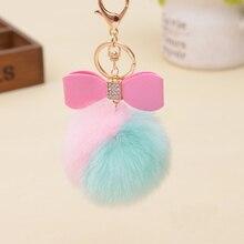 Lovely Fluffy Rabbit Ear Fur Ball Key Chain Bow-knot Pompom Artificial Rabbit Fur Keychain Double Color Women Car Bag Key Ring