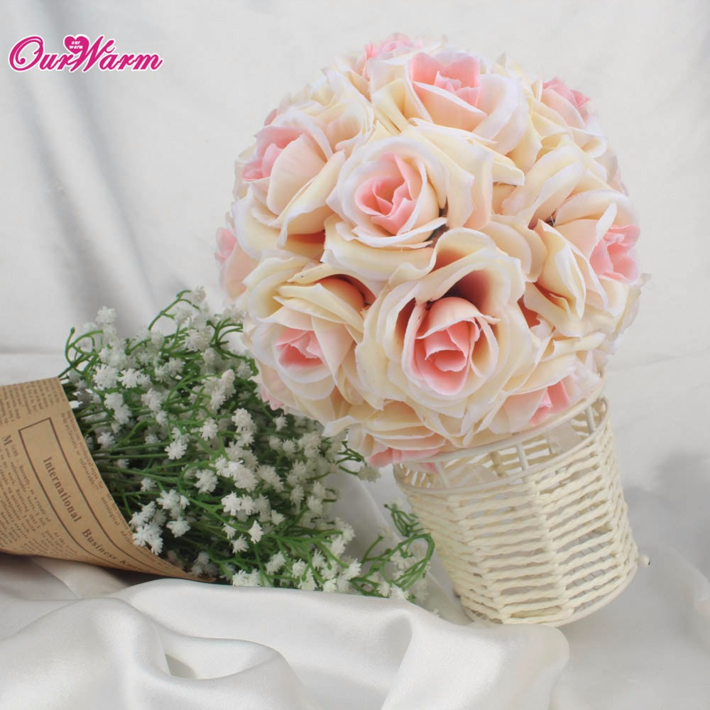 18cm Diameter Silk Rose Flower Ball Artificial Bouquet Kissing Ball