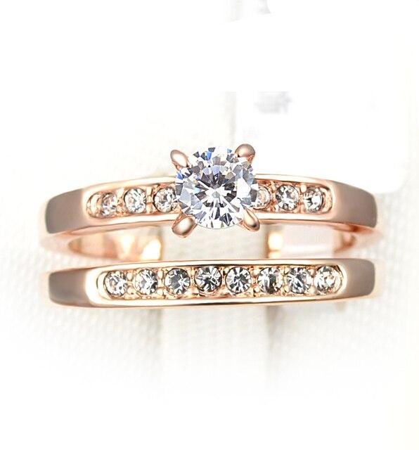 De moda de cristal austriaco joyería de oro rosa hombres y mujeres par de Sets anillos para mujer venta al por mayor Anillos De Compromiso Italina regalo