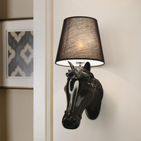 Surface Mounted Modern Wall Lamp LED Fabric Lampshade Black/White Horse Head Sconce Wall Lights for Bedroom Indoor Lighting 220V