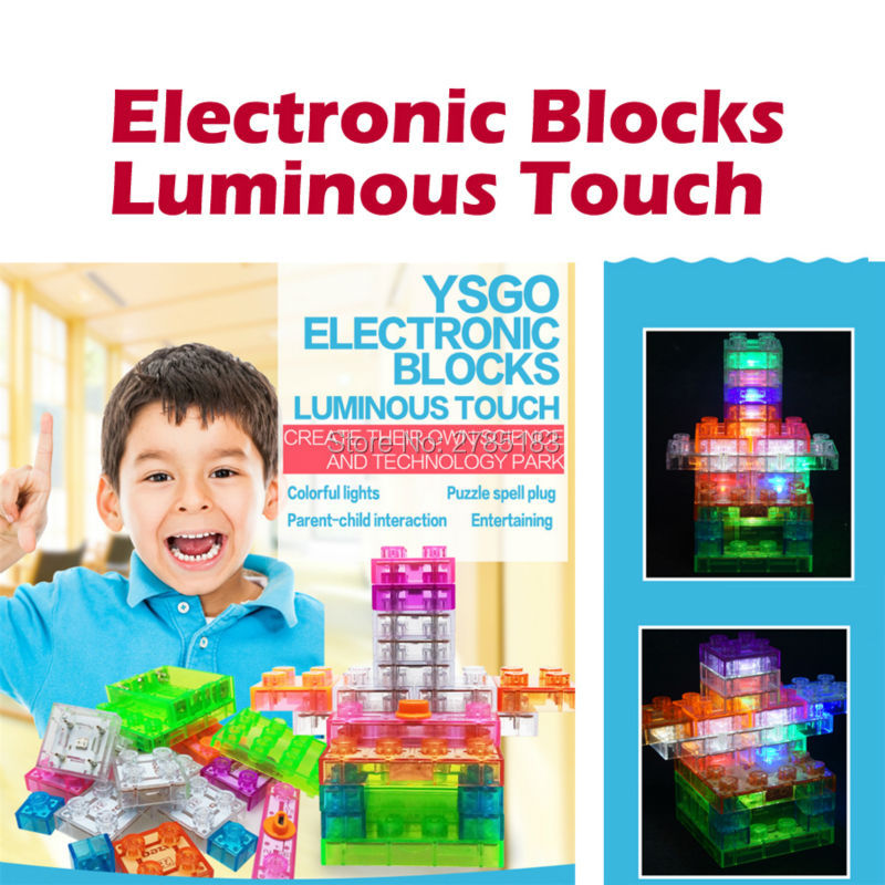 19PCS Touch Control Electronic Blocks Integrated Circuit Building Blocks Plastic Model Kits Science Educational Toys for childre telecool circuits smart electronic block w 58 kit integrated circuit building blocks educational science innovation learning toy