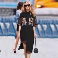 Embroidered Floral T Shirt Dress Women Black Chiffon Shirt Dress Short Sleeve Open Hem Flower Appliques