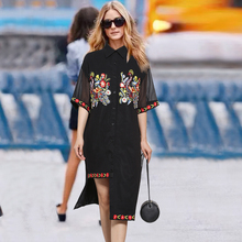 womens black t shirt dress with floral Dresses embroidery with flowers dress shirt Black Chiffon Short Sleeve Appliques Straight