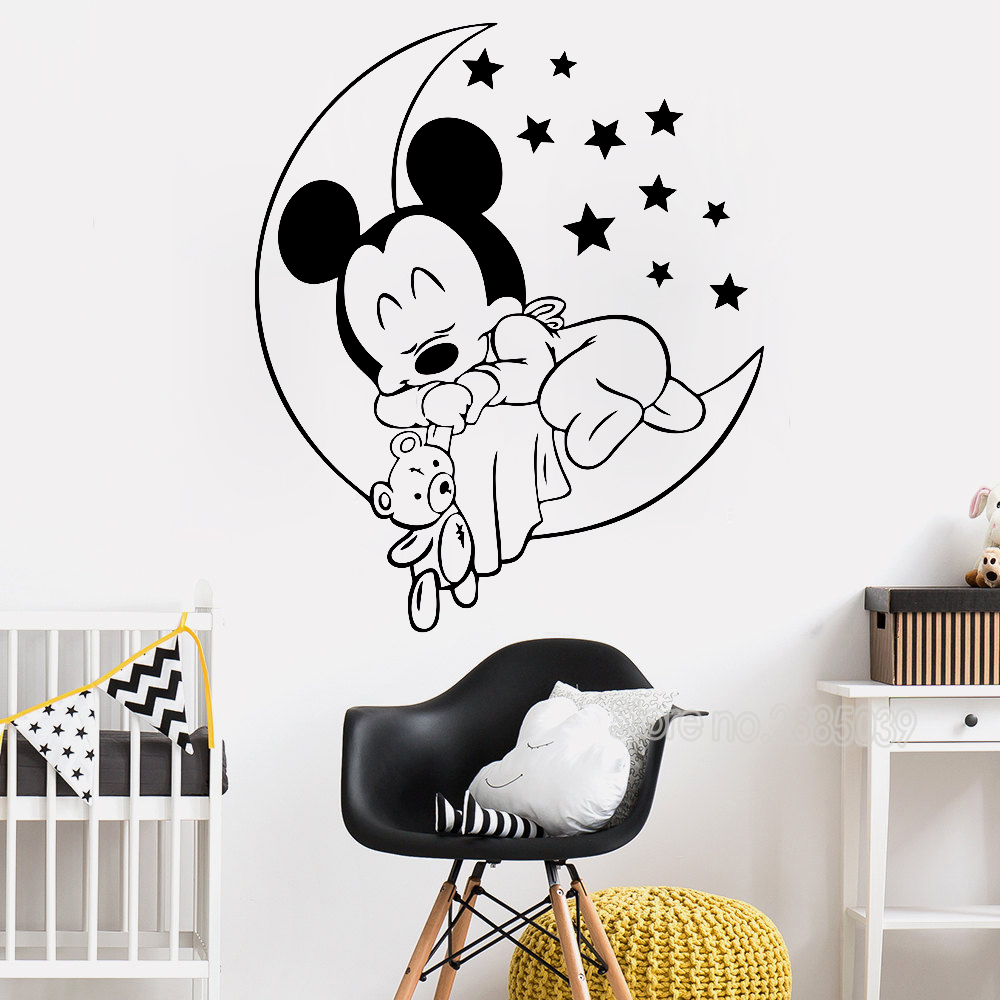 Cartoon Mickey Mouse Baby Wall Sticker For Kids Room Home Decor Art ...