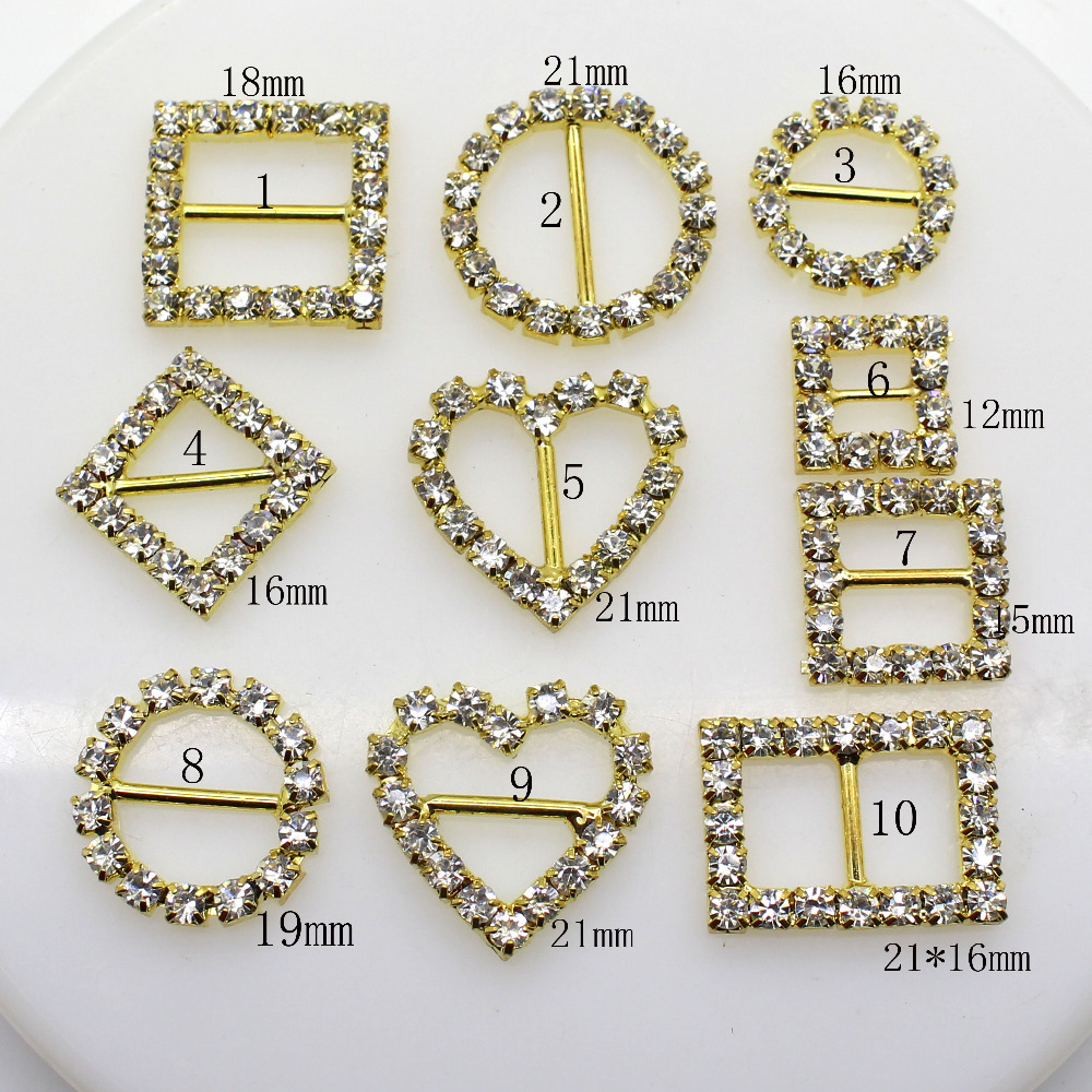 10pcs Mix Size Buttons Crystal Rhinestone Buckle Invitation Ribbon Slider For Wedding Gold Color Diy Accessories