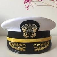 Captain Ship Sailor Hat Navy Cap Captain Hat Uniforms Costume Party Cosplay Stage Performce Flat Military Cap For Adult Men