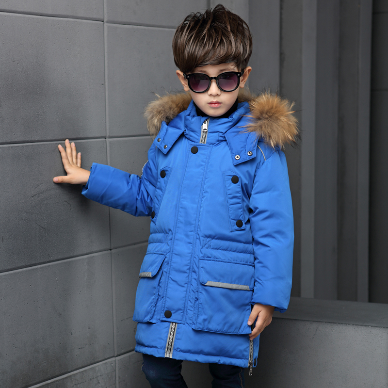 2017 Russia Winter Boys Down Jacket Boy Warm Children Fur Hooded Jackets / Coats Kids Outerwear Fur Collar Big Kids Clothing 2017 new high quality big fur collar women long winter cotton padded coats female warm jacket large size parka outerwear qh0882