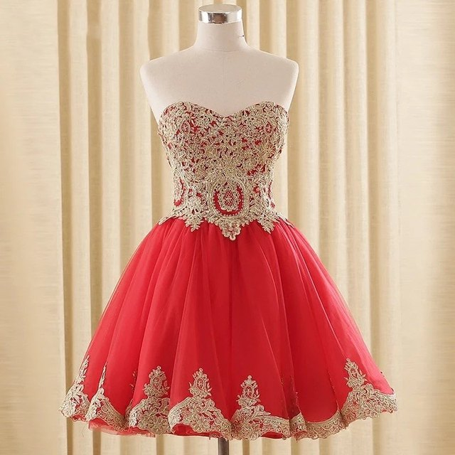 ec77352ade Cute Red Gold Homecoming Dress For Graduation Gowns 2017 Cheap Short  Sweetheart Lace Applique Corset Prom Party Dresses New
