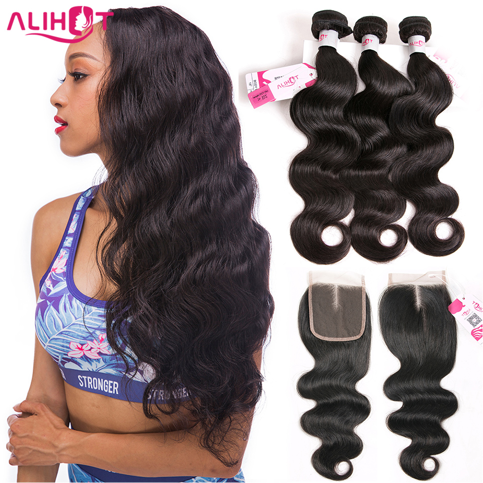 ALI HOT Hair Brazilian Hair Bundles With Closure Body Wave 3 Bundles Remy Hair Weave 4 Pcs/Lot Human Hair Bundles With Closure