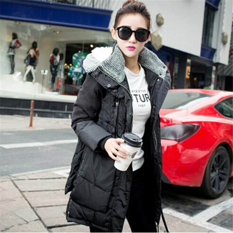 AILOOGE 2017 New Europe Military Fashion Causal Loose Hooded Winter Jacket Women Parka Coat Thick Duck Down Jacket Women