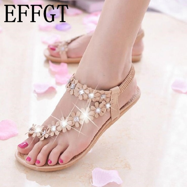 f65ffa8ff602 EFFGT 2018 New style Sandals Women Fashion Summer Bohemia Flower Beads Casual  Beach sandals Flat Casual Ladies Sandals H221