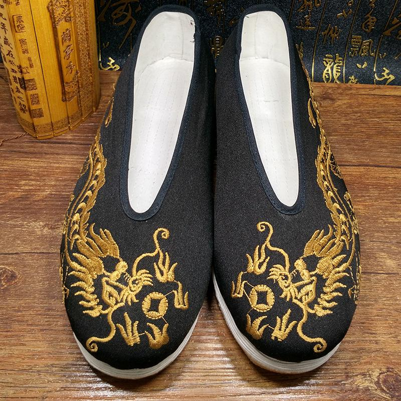 Dragon Beijing Embroidered casual National Shoes shaolin kung fu Wing chun tai chi Chinese style golden dragon emperor history warrior shoes 2016 the new shoes shaolin shoes tai chi shoes temple of china popular and comfortable