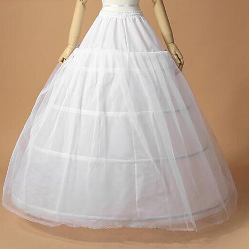 Womens Bridal 3 Hoops Maxi-Length Petticoat Drawstring Waistband Multi-Layer Ball Gown Wedding Dress Bustle Underskirt