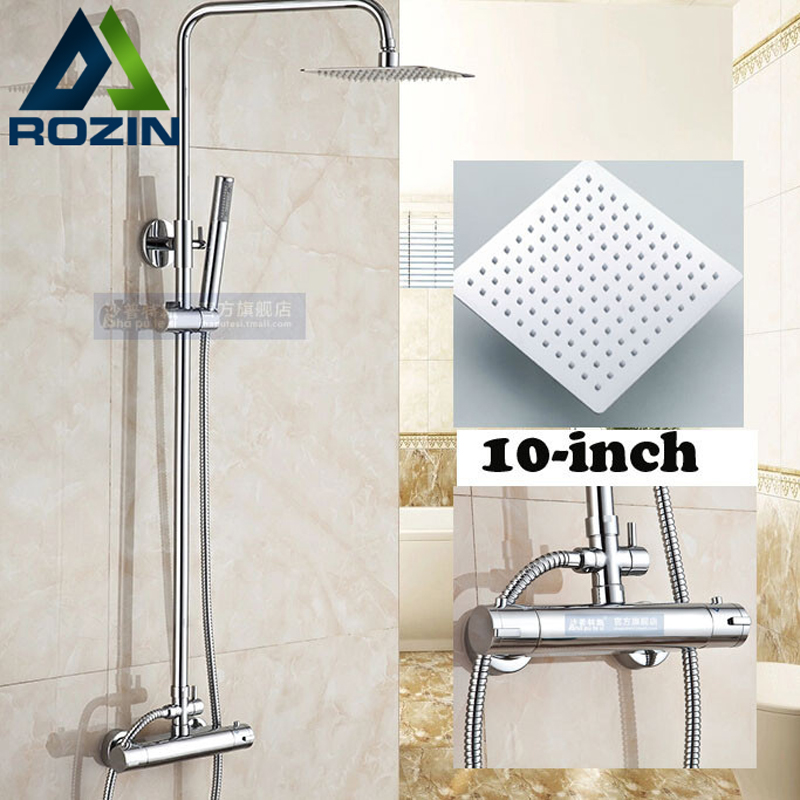 Wall Mount 10 inch Thermostatic Bathroom Shower Faucet Mixer Taps Dual  Handle with Hand Held Shower Chrome Finish. Shower Mixer Taps Reviews   Online Shopping Shower Mixer Taps