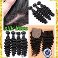 7A virgin 100%human hair deep wave bundles with silk base closure peruvian deep wave with closure silk base closure with bundle