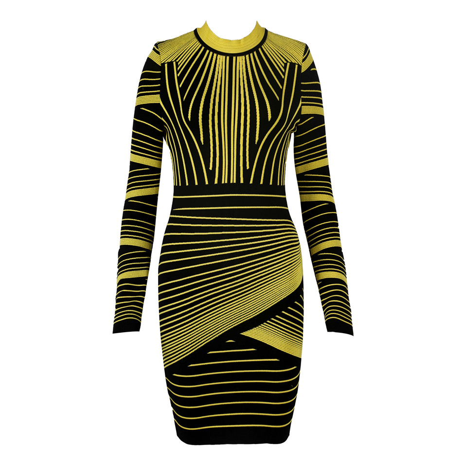2020 New Arrivals Bandage Dress Women Long Sleeve O-Neck Sexy Club Celebrity Evening Party Bodycon Dress Vestidos