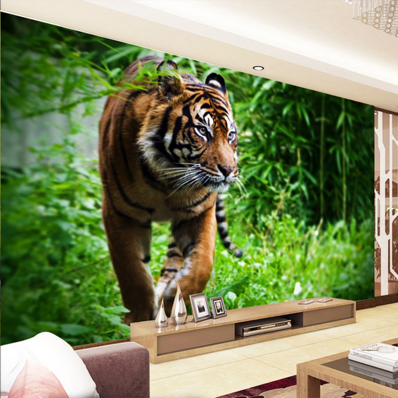 Photo Wallpaper 3D Stereo Tiger Forest Green Tree Murals Wallpapers Living Room TV Backdrop Wall Home Decor Papel De Parede 3 D custom 3d photo wallpaper 3d stereoscopic green forest mural for living room bedroom tv backdrop waterproof papel de parede