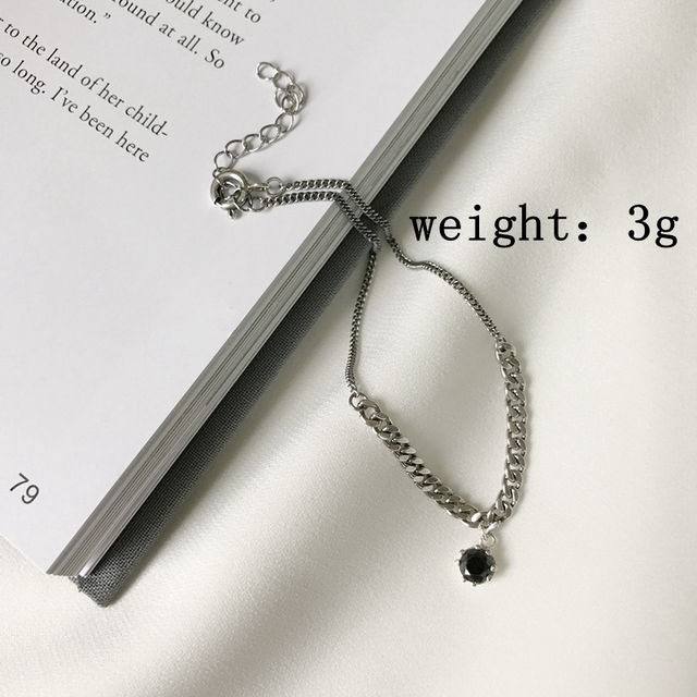 925 sterling silver zircon vintage anklets crude chain black zircon vintage anklets for women ladies anklets foot jewelry charm
