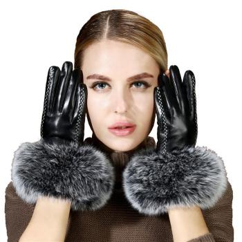 2021 new arrival hot sell high quality women real fox fur Gloves lovely ladies genuine gloves