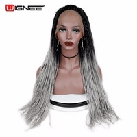 Wignee Senegalese 2x Twist Braids Wig Lace Front Synthetic Wig For Women Crochet Twist Braiding Hair Natural Black Grey Hair Wig